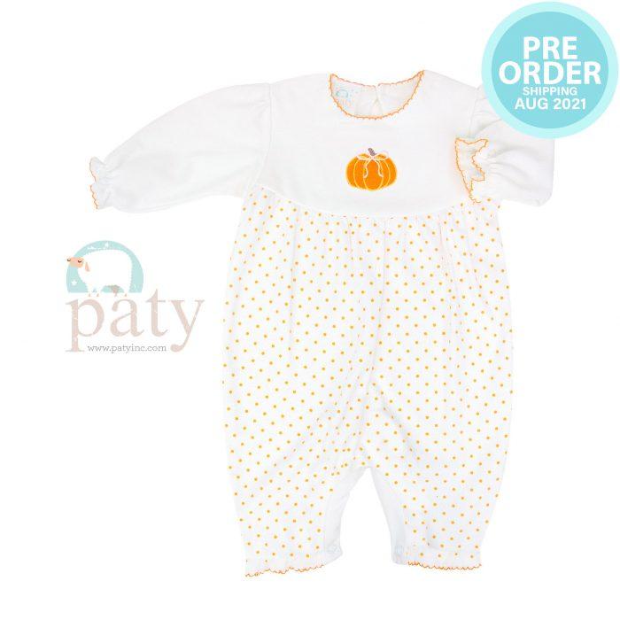 Preorder Pima Orange Mini Dot Romper w/ Pumpkin Embroidery