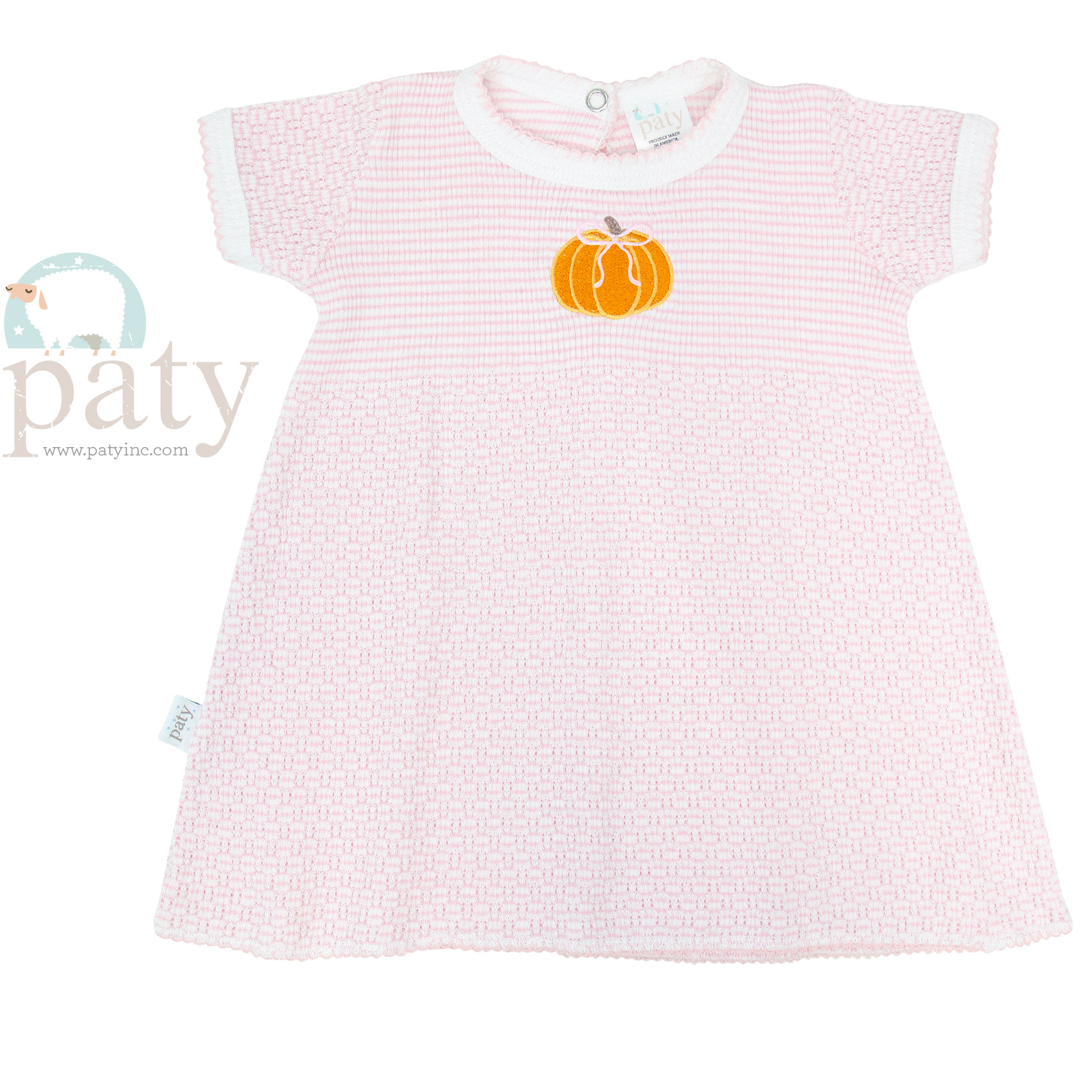 Solid Color Knit Dress w/ Pumpkin Embroidery//
