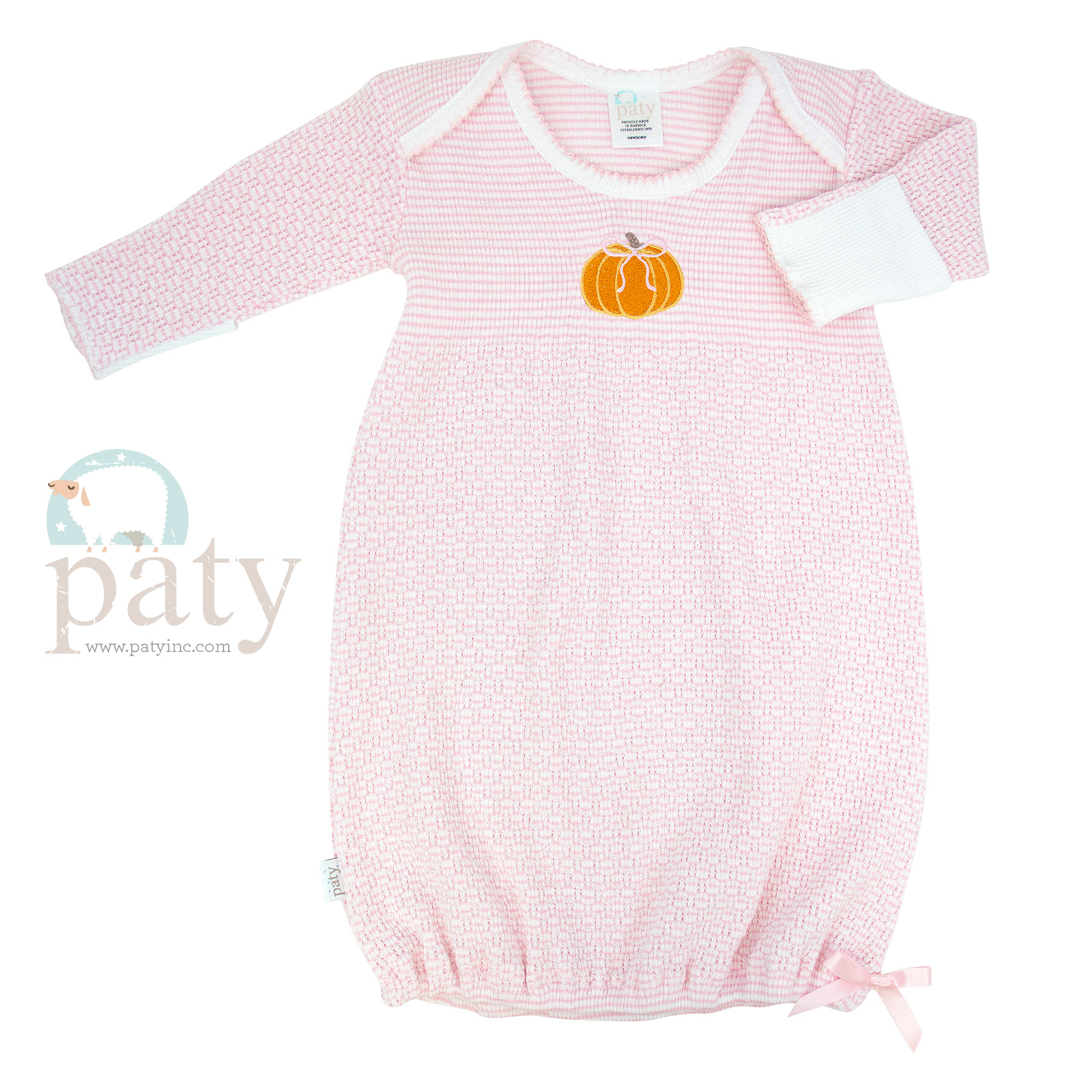 Pink Solid Color Knit Gown w/ Pumpkin Embroidery