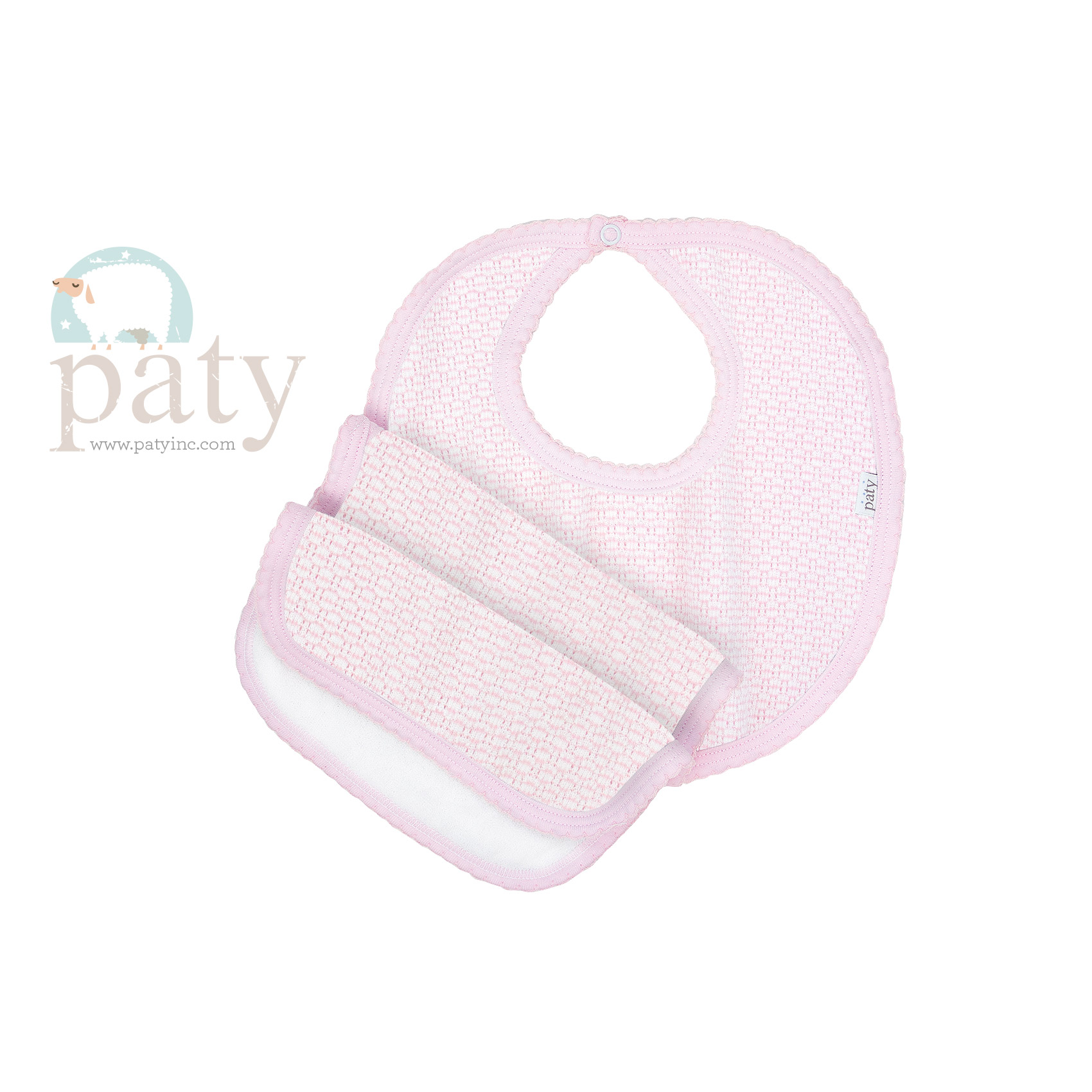 Pink Solid Color paty Knit Bib and Burp