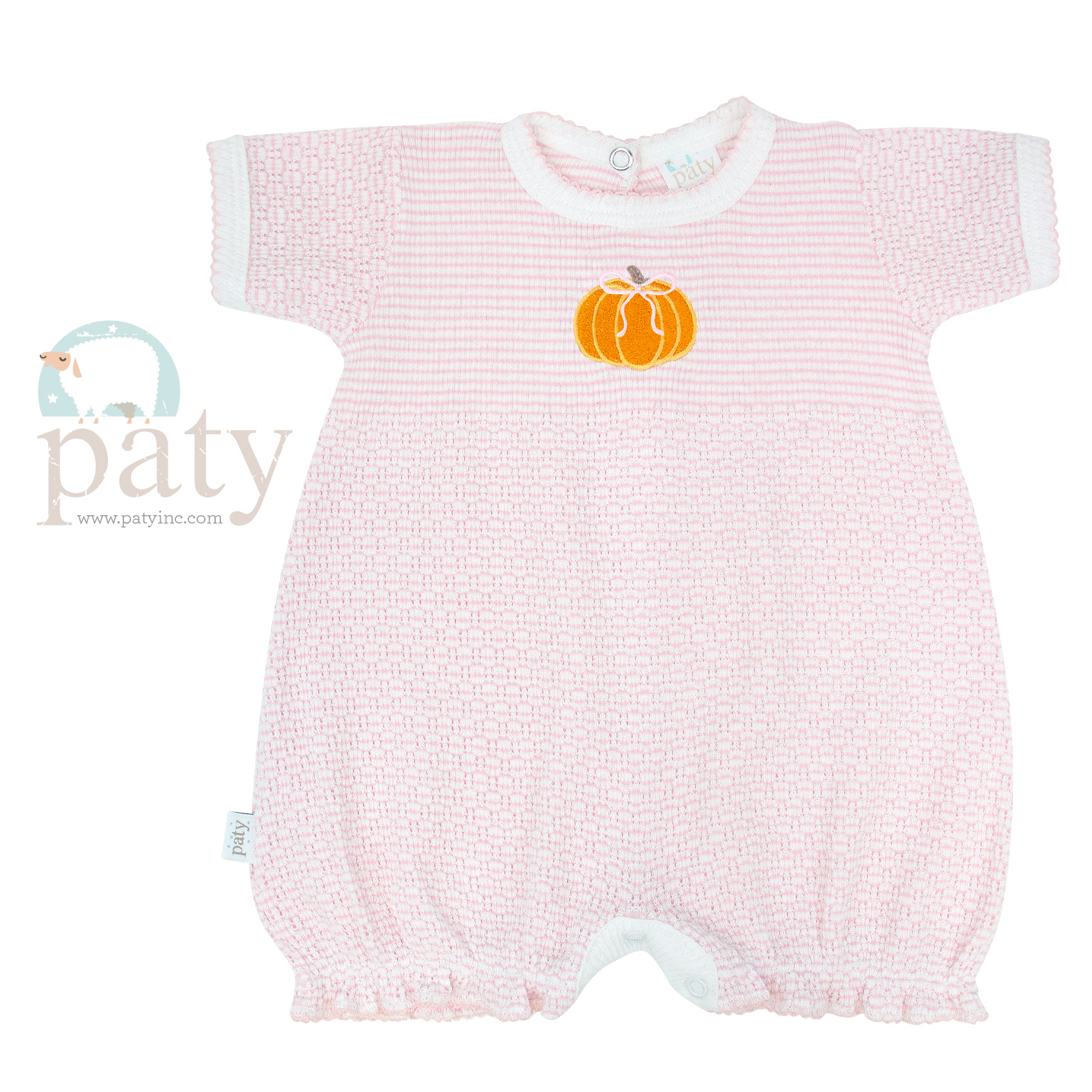 Solid Color Knit Bubble with Pumpkin Embroidery