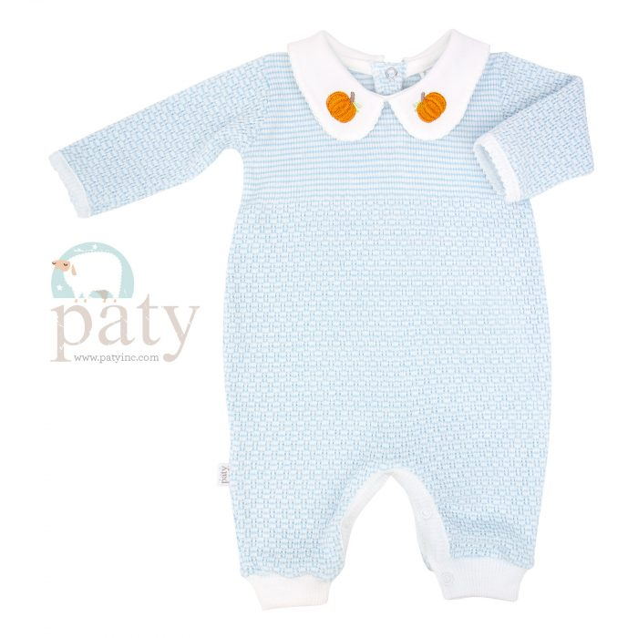Blue Solid Color Knit Romper w/ Pumpkin Embroidery