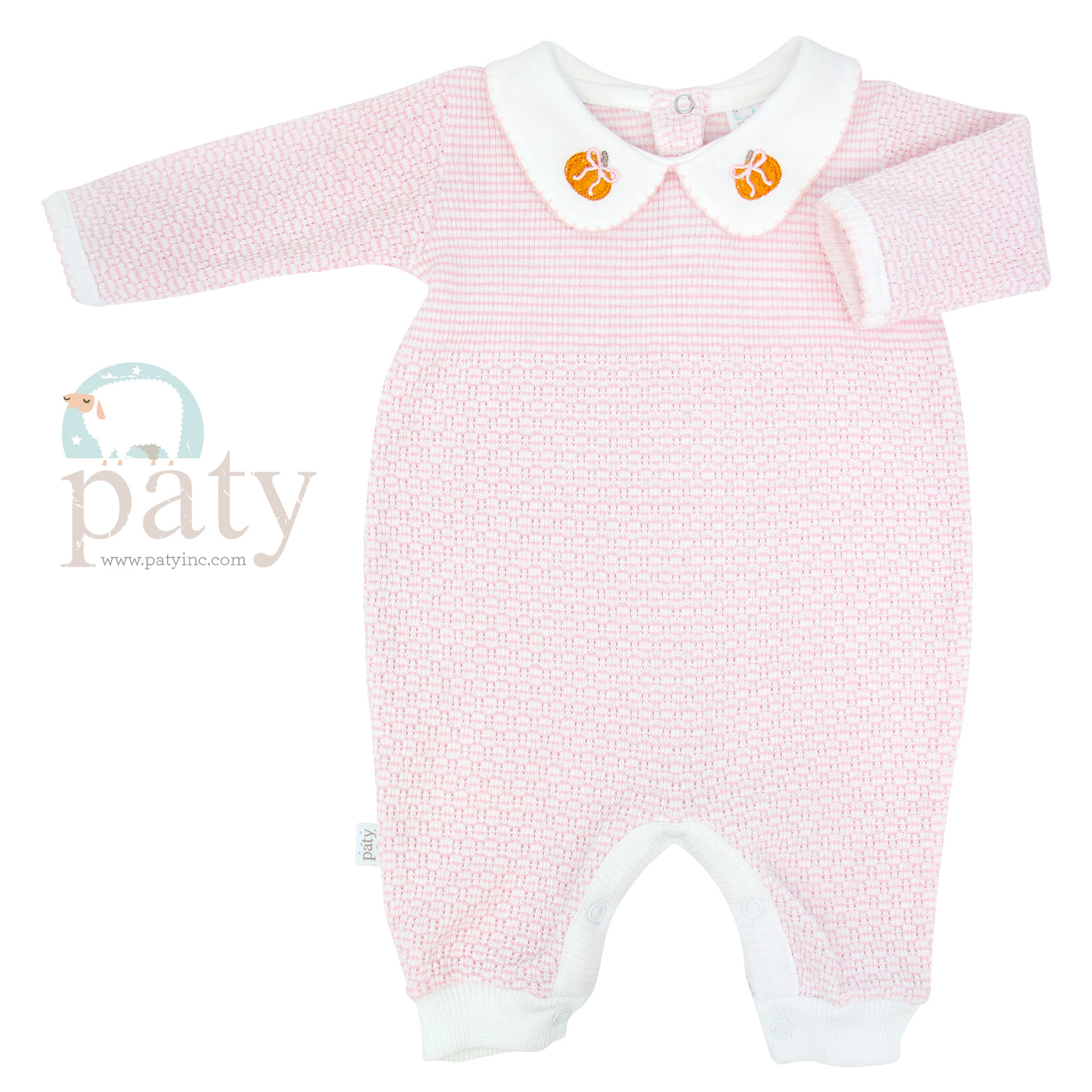 Pink Solid Color Knit Romper w/ Pumpkin Embroidery