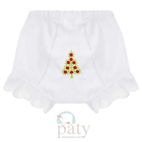 Eyelet Diaper Cover w/ Christmas Tree Embroidery
