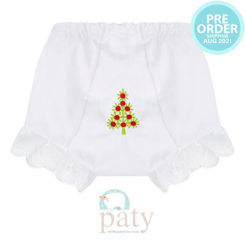 Preorder Eyelet Diaper Cover w/ Christmas Tree Embroidery