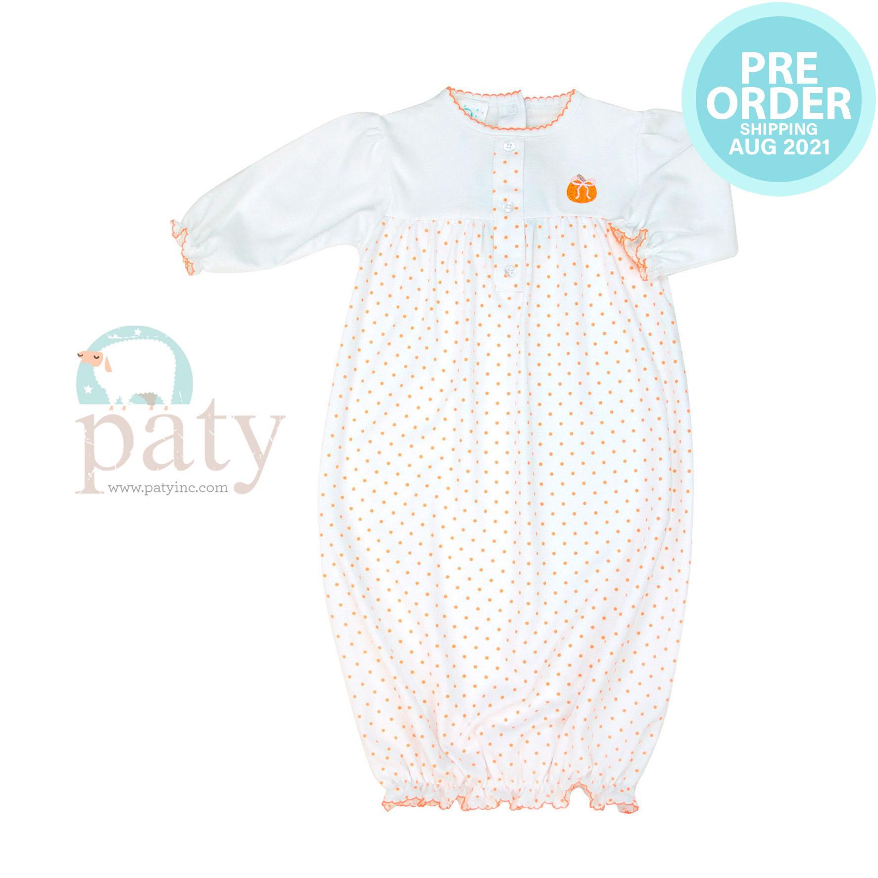 Preorder Mini Dot Gown w/ Pumpkin Embroidery
