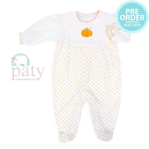 Preorder Pima Orange Mini Dot Footie w/ Pumpkin Embroidery