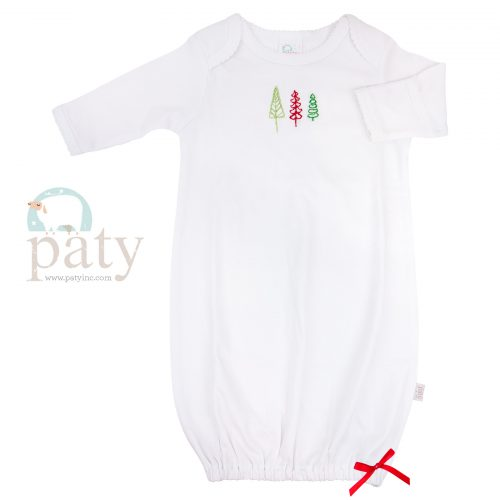 Embroidered Christmas Trees Overlap Shoulder Cotton Classic Gown